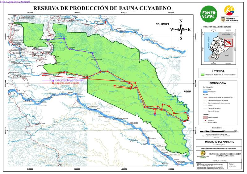 AMAZONAS REGENWALD LODGE, ECUADOR: Detailed map Cuyabeno Wildlife Reserve with route.