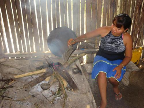 CARACTARÍSTICAS DE LA REGIÓN AMAZÓNICA: Siona woman cooking on traditional fire box.